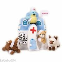 6 Pc Soft Plush 11 White Hospital Tote Assorted Stuffed Doctor Nurse Patients