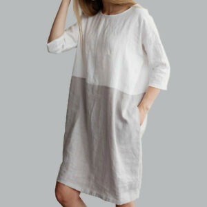 AU-Baggy-Womens-Casual-Short-Sleeve-Dresses-Cotton-Linen-Ladies-Tunic-Tops-Dress