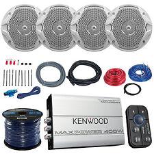 """4x JBL MS6510 6.5"""" Boat Speakers, Kenwood 400-Watt Bluetooth Amplifier, Amp Kit"""
