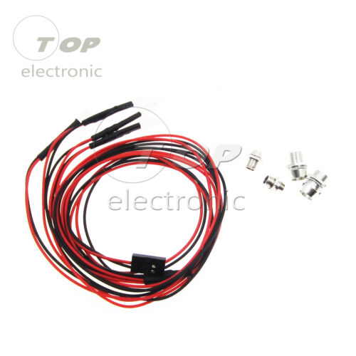 RC On-Road Car LED Night 5mm White And 3mm Red Headlamps 4 LED Lamp NEW