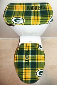 Nfl Green Bay Packers Plaid Fabric Toilet Seat Cover Set