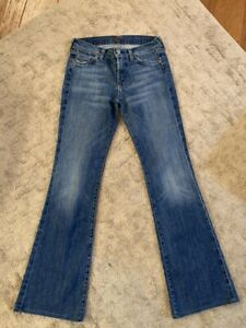 SEVEN-FOR-ALL-MANKIND-SZ-27-W-X-30-1-2-L-SHORT-FLARE-AUTHENTIC-DENIM-JEANS