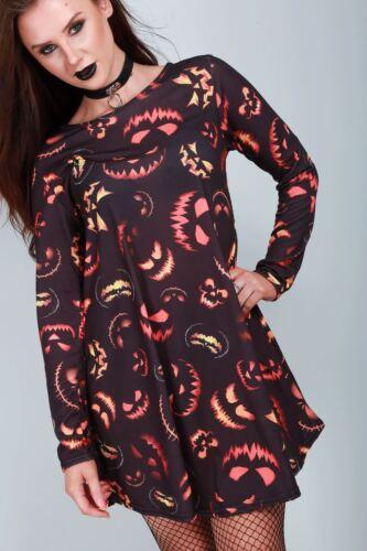 Femme Crâne Effrayant chauve-souris citrouille araignée Robe Swing Femme Blouse Patineuse Mini Robe