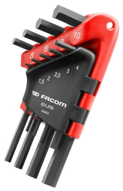 Facom 8pc Hexagon Hex Short key Set in Plastic Clip Wallet 82H.JP9A 1.5-10mm
