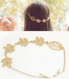 Women-Girl-Retro-Boho-Party-gold-color-leaf-Wedding-Hair-piece-Head-pin-Clip