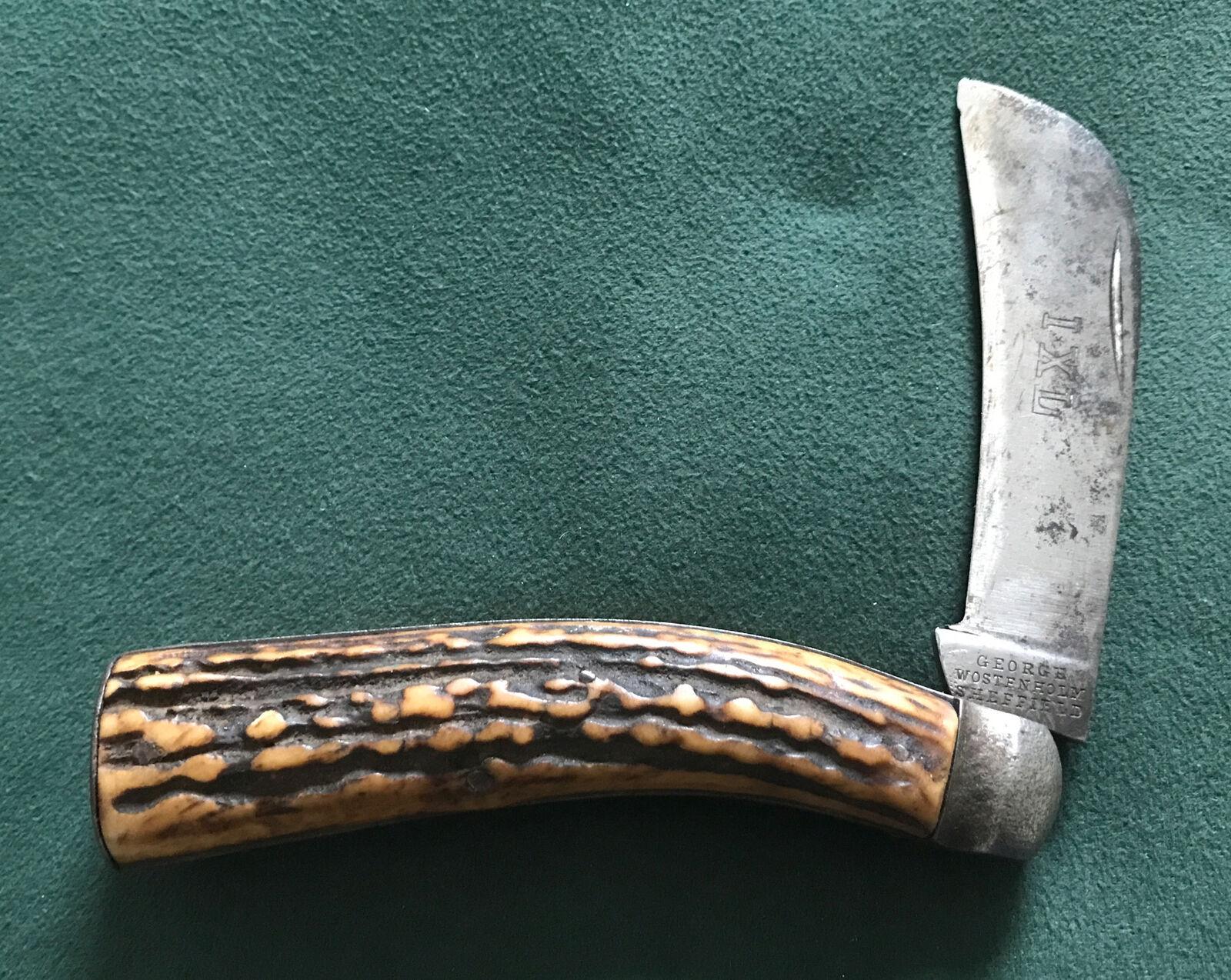 ANTIQUE IXL GEORGE WOSTENHOLM ENGLAND HAWKBILL STAG LARGE POCKET KNIFE RARE OS.