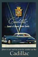 Blue Cadillac Car General Motors Quality Automobile Vintage Poster Repro Free Sh