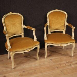 Coppia poltrone stile antico mobili vintage sedie salotto laccato dipinto 900