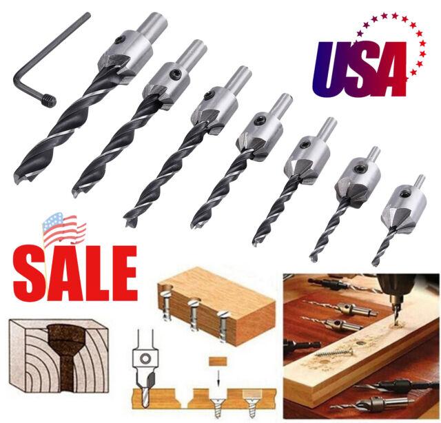 4PCS Hex Shank HSS Countersink Drill Bit Set Woodworking #6 #10 #13 #16