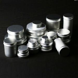 1-100pcs-5-250g-Empty-Aluminium-Cosmetic-Jar-Tin-Container-Silver-Box-Screw-Lid
