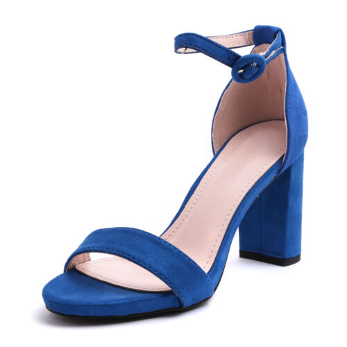 Sandali scarpe donna tacco alto decoltè camoscio cinturino alla caviglia h1818