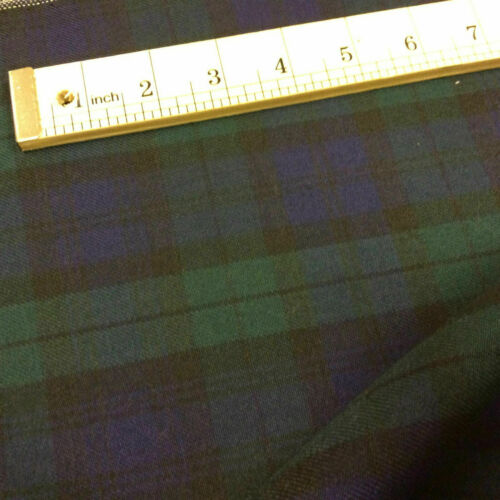 negro Reloj Premium Thomson Cuadros Tartán Comprobar Poli Viscosa Tela de 150cm de ancho