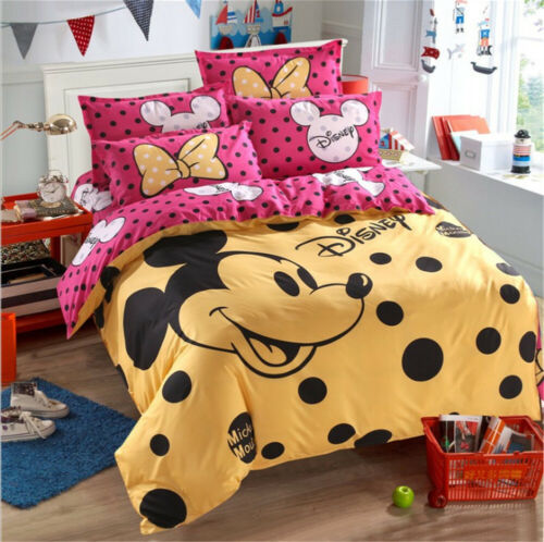 Duvet Cover Bedding Set Mickey Minnie Mouse Single Double Size Pillow Case UK