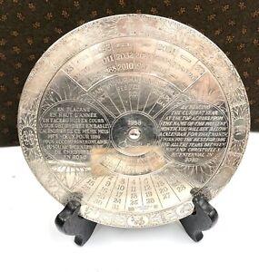 1986 CHRISTOFLE Superbe calendrier perpétuel Bi-Centenaire Métal Argenté