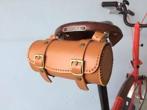 Details About Leather Bicycle Saddle Bag Handmade For Brompton Brooks Vintage Honey Color