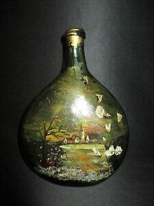ancienne-bouteille-fin-XVIII-ou-XIX-eme-peinte-Art-Nouveau-fin-XIX-eme
