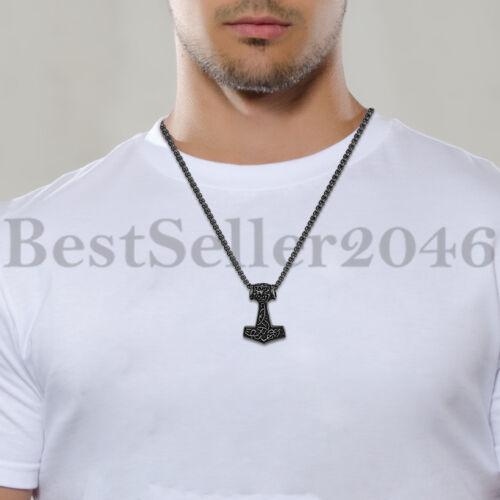 "Men Vintage Viking Norse Thor/'s Hammer Mjolnir Pendant Amulet Necklace Chain 22/"""
