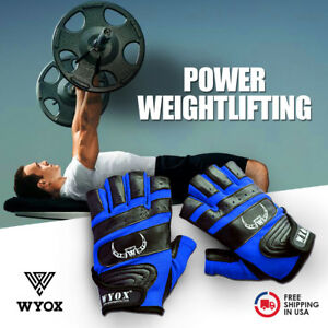 Weight-Lifting-Gym-Gloves-Fitness-Training-Workout-Leather-Exercise-Blue-WYOX