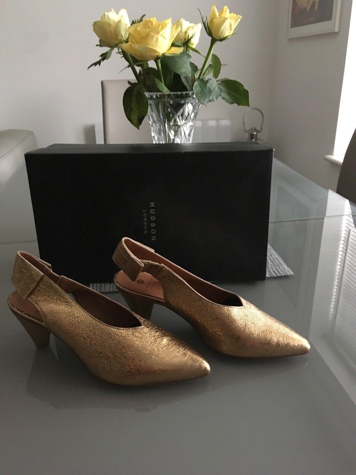 HUDSON gold Leather Dgoldthea Slingback Heels size 6UK 6UK 6UK 20e960