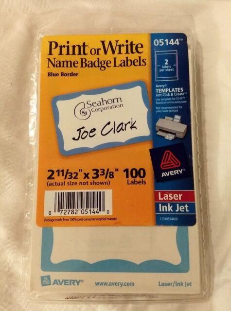 Avery 5144 Print/Write Self-Adhesive Name Badges, 2-11/32 x 3-3/8, Blue, 100/Pac