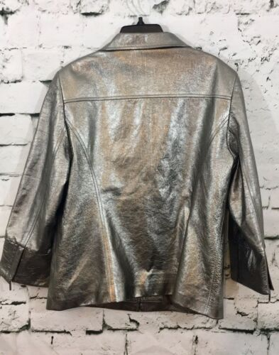 Lafayette 148 New York Womens Lamb Skin Blazer Jacket Size 10 Metallic