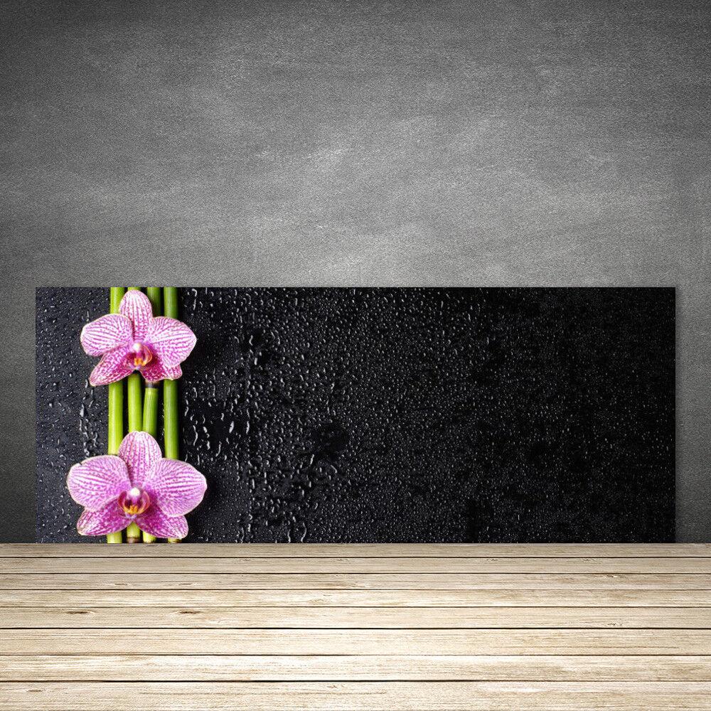 Crédence de cuisine en verre Panneau 125x50 Floral Bambou Fleurs
