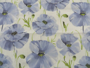 BTY-Bartson-Blue-POPPIES-Floral-Home-Decor-Drapery-Woven-Fabric-59-034-wide