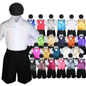 971ec07d7471 Baby Boys Toddler Formal Vest Shorts Suit Satin Vest Bow Tie 5pc Set ...