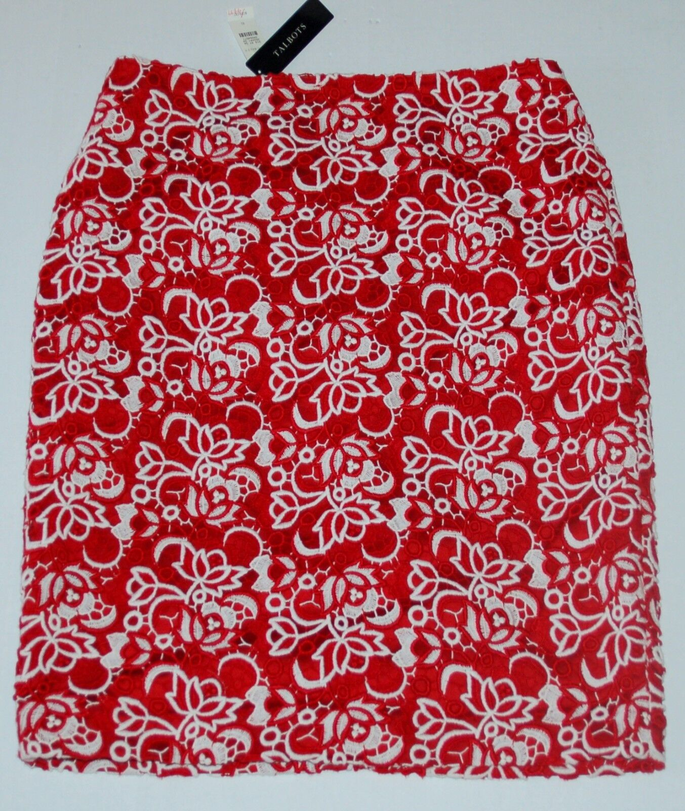 NEW Womens Talbots Red White Pencil Skirt Lace size 10