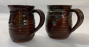 Salt Glazed Pottery Mug Set Hand Crafted Coffee Cup Brown Blue Artist Signed