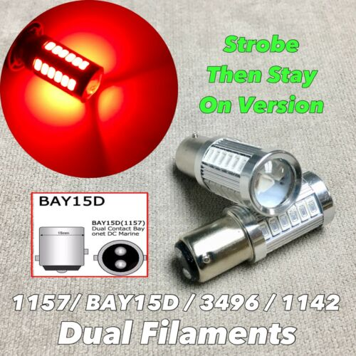 Strobe stay on Brake stop Light 1157 3496 7528 33 SMD BAY15D Red LED Bulb W1 JAE