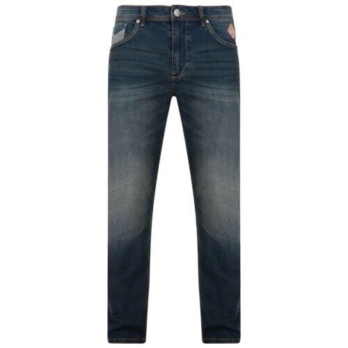 RUBEN Kam Mens Regular Fit Jeans Stretch Darkwash