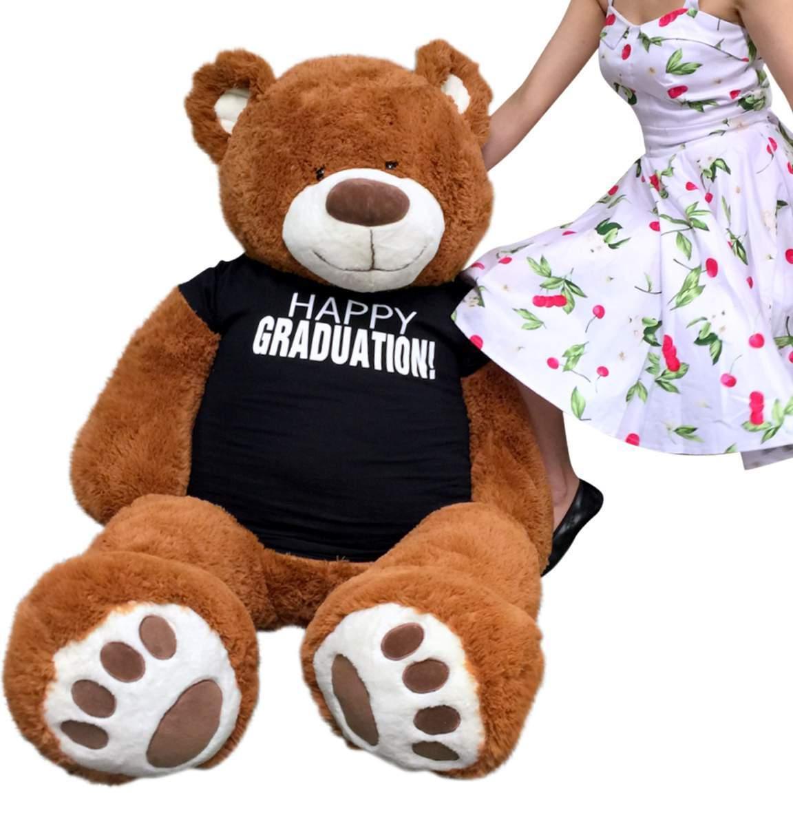 Big Plush 5 Foot Graduation Teddy Bear Soft, Cinnamon color, Happy Graduation