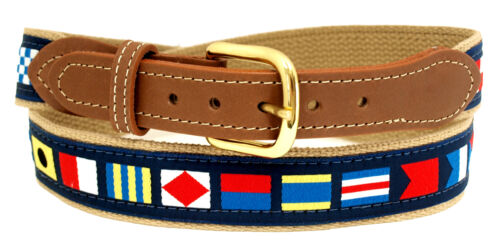 Nautical Code Flag Belt on Navy or Khaki webbing,Tan Leather Tips Made in US