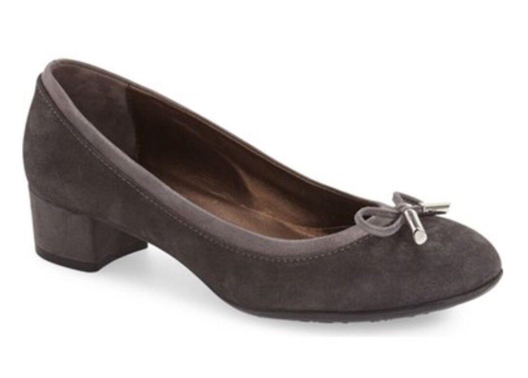 New $350 AGL 'Kristin' Block Heel Pumps, Suede Gray Suede Pumps, Ballet Flats 37.5, 7 d9aae3