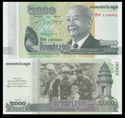 UNC/>COMM. P-64 NEW 2013 Cambodia 2000 2,000 Riels Lot 10 PCS