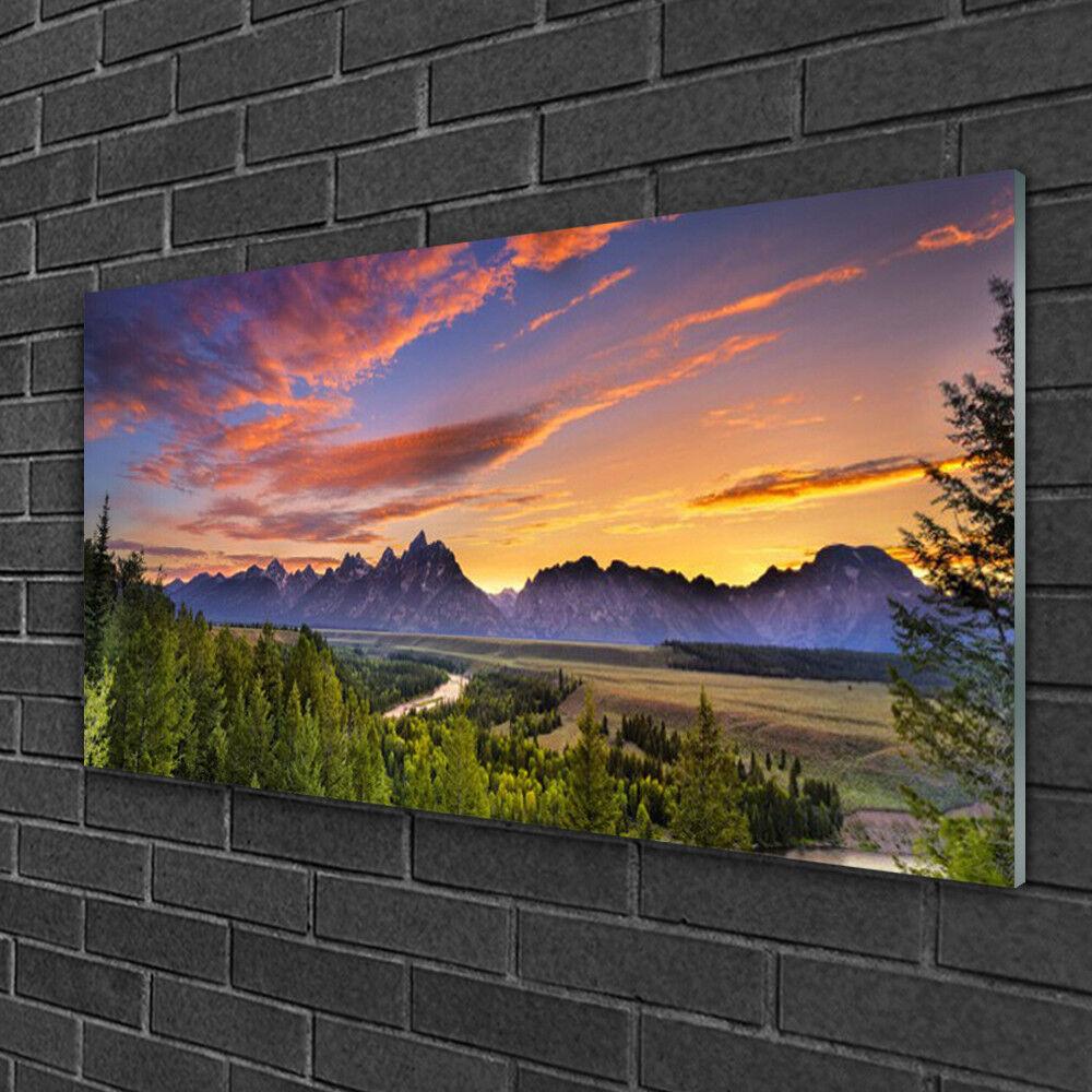 Image sur verre acrylique Tableau Impression 100x50 Nature Forêt Montagne