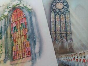 2-Vtg-1950s-GLITTER-Sparkle-CHURCH-WINDOWS-Mid-Century-CHRISTMAS-GREETING-CARDS