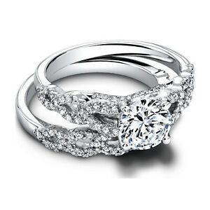 1.50 Ct Round Moissanite Engagement Band Set Solid 18K White Gold Rings Size 6 7