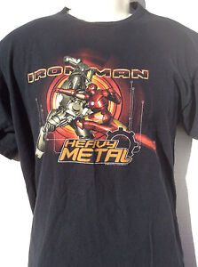 Marvel Comics IRON MAN 2 black T Shirt sz M medium Movie HEAVY METAL ... 60d863eeb3db0