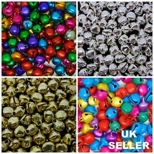 Christmas-Ringing-Jingle-Bell-Beads-Xmas-Craft-Silver-Gold-Mixed-Colour-UK