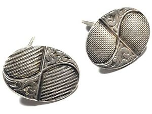 Vintage-Mens-835-Silver-Cufflinks-Unique-Design-Take-A-Look