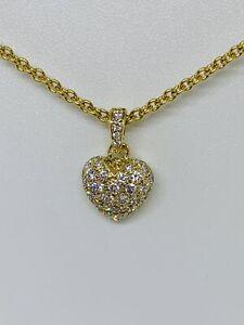 Cartier 18k Yellow Gold Diamond Heart Pendant Necklace Ebay