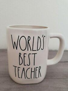 NEW-RAE-DUNN-by-Magenta-WORLD-039-S-BEST-TEACHER-Coffee-Tea-Mug-Farmhouse-Home-Decor