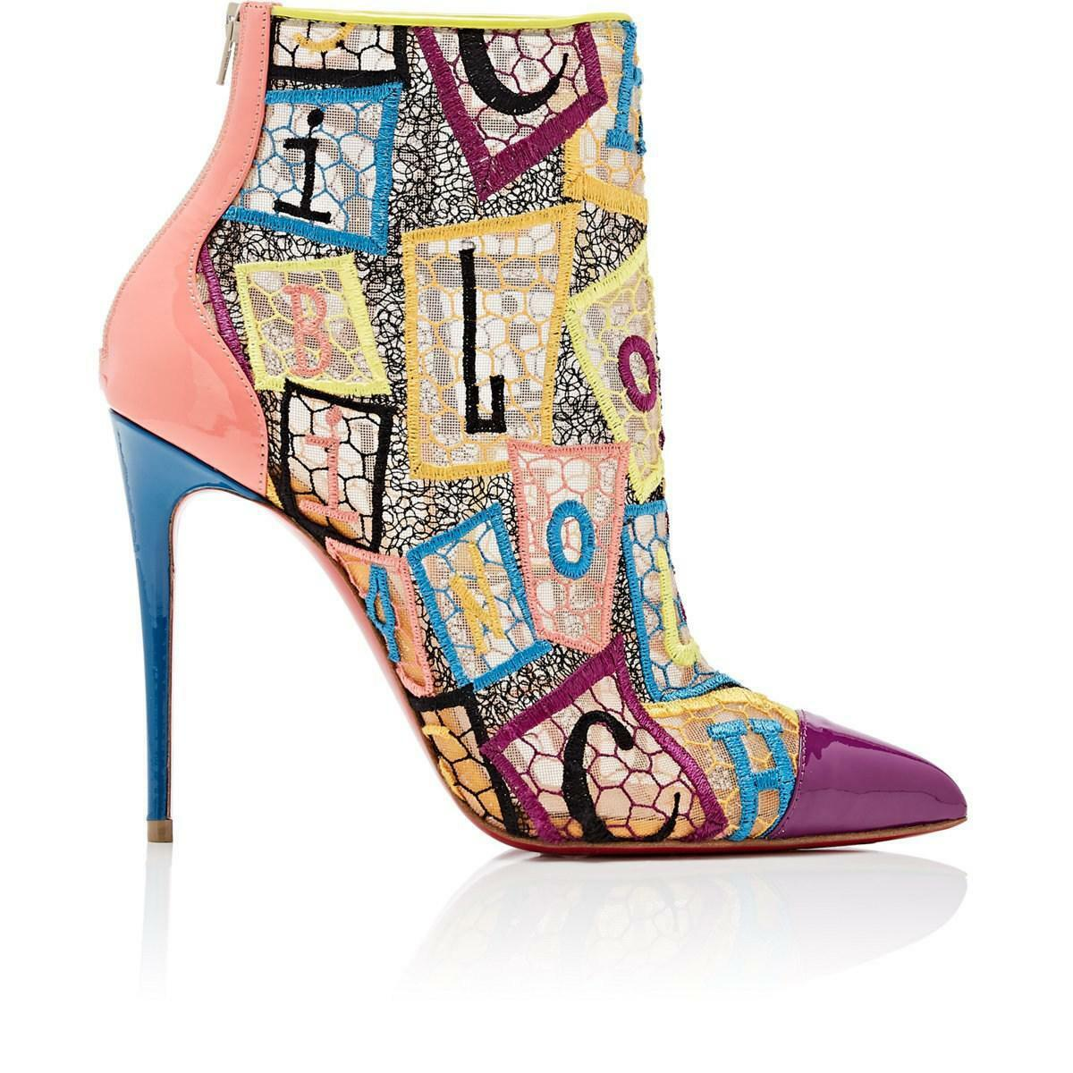 LOUBOUTIN GIPSYBOOTIE GIPSYBOOTIE GIPSYBOOTIE 100 MULTICOLOR EMBROIDERED NET ANKLE ZIP BOOTS PUMPS 38 886cd2