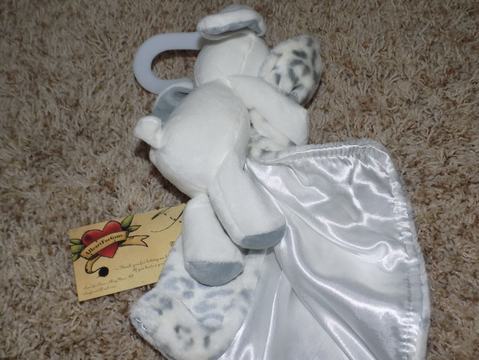 SECURITY BLANKET BABY STARTERS LEOPARD JUNGLE CAT GRAY WH BUNNY RABBIT FULL BODY