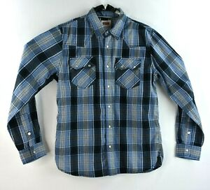 Levis-Mens-Western-Shirt-Blue-Plaid-Size-Medium-Long-Sleeve-Button-Front