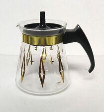 Vintage Cory Carafe Atomic Starburst Mid Century Modern Gold C2L Diamond  2 Cup