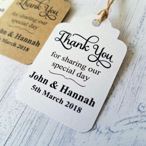 Personalised Wedding Favour Gift Tags merci pour le partage de notre journée spéciale