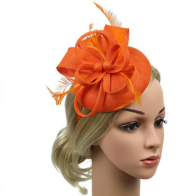 Women Feather Fascinator Headpiece Hat Hair Clip Bridal Party Wedding Race Derby